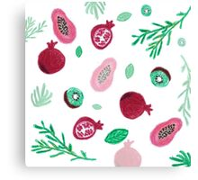 Pattern of fruits and leaves  Canvas Print