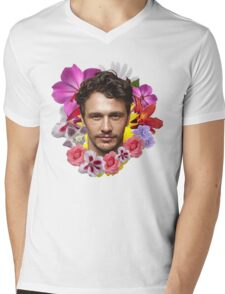 James Franco - Floral Mens V-Neck T-Shirt