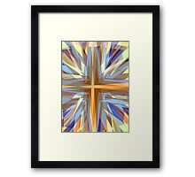 Religious cross starburst pattern Framed Print