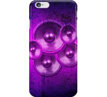 Purple music speakers on a concrete wall iPhone Case/Skin
