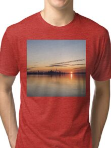 Half a Sunrise - Toronto Skyline From Across Silky Calm Lake Ontario Tri-blend T-Shirt