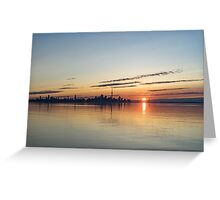 Half a Sunrise - Toronto Skyline From Across Silky Calm Lake Ontario Greeting Card