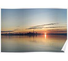 Half a Sunrise - Toronto Skyline From Across Silky Calm Lake Ontario Poster