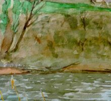 Watercolour River View (Hay on Wye) Sticker