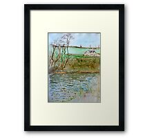 Watercolour River View (Hay on Wye) Framed Print