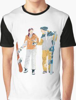 Snowboard boy amp girl illustration Graphic T-Shirt