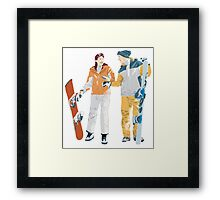 Snowboard boy amp girl illustration Framed Print