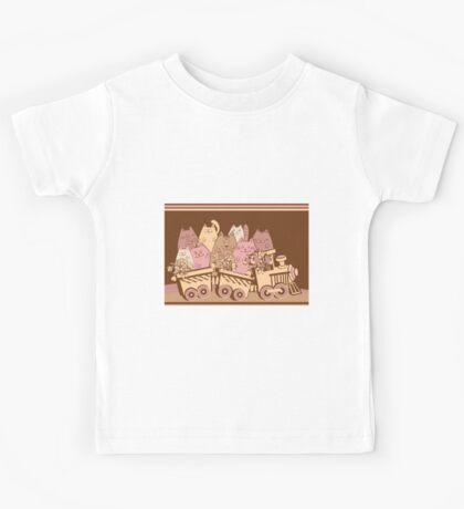 Amusing cartoon toy train cats design Kids Tee