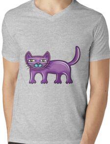 Cartoon purple cat Mens V-Neck T-Shirt
