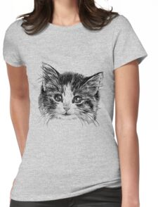 Cartoon purple cat Womens Fitted T-Shirt