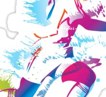 Colorful footballer chasing the ball graphics Sticker