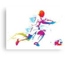 Colorful footballer chasing the ball graphics Canvas Print