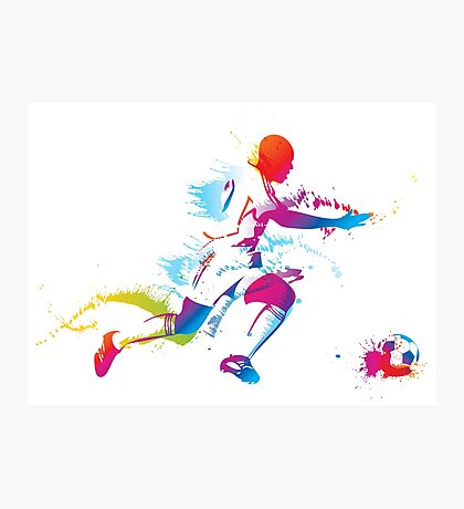 Colorful footballer chasing the ball graphics Photographic Print