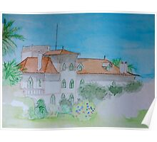 Watercolour View of a Portuguese House Poster