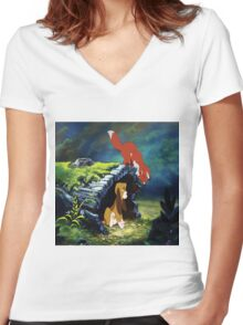 Fox and The Hound  Women's Fitted V-Neck T-Shirt