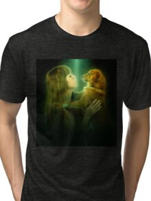Digitally enhanced image of Human and Dog face to face  Tri-blend T-Shirt