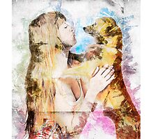 Digitally enhanced image of Human and Dog face to face  Photographic Print