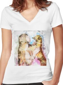 Digitally enhanced image of Human and Dog face to face  Women's Fitted V-Neck T-Shirt