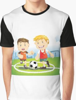 Two boys play soccer on a field Graphic T-Shirt