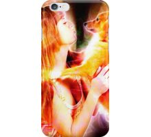 Digitally enhanced image of Human and Dog face to face  iPhone Case/Skin
