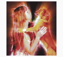 Digitally enhanced image of Human and Dog face to face  Kids Tee