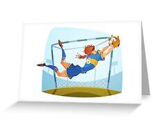 Funny cartoon goal keeping sporting design Greeting Card