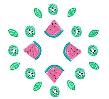 Watermelon and kiwi pattern Photographic Print