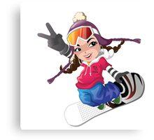 Girl snow boarding Canvas Print