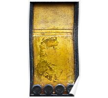 Gold colored chipped wall background  Poster