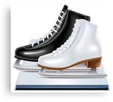 Ice hockey shoes icons Canvas Print