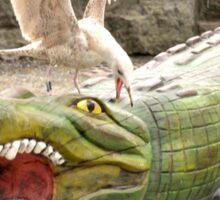 Gull attacking crocodile Sticker