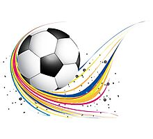 Abstract football green colorful wave Photographic Print