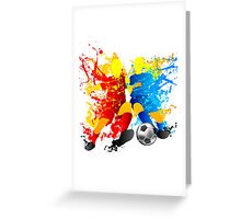 Football players splash with a soccer ball Greeting Card