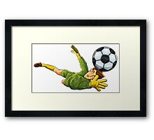 Goalkeeper jump to ball Framed Print