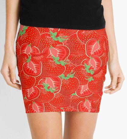 Ripe strawberry seamless pattern. Mini Skirt