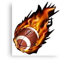 Realistic American football in the fire Canvas Print