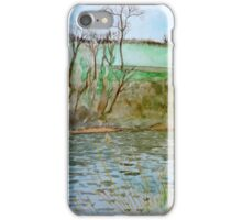 Watercolour River View (Hay on Wye) iPhone Case/Skin
