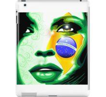 Brazil flag paint on girl face iPad Case/Skin