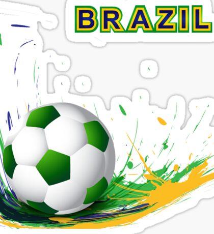 Beautiful brazil colors concept shiny soccer ball Sticker