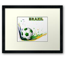 Beautiful brazil colors concept shiny soccer ball Framed Print