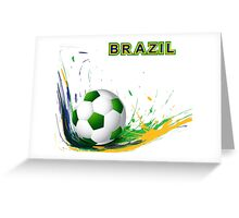 Beautiful brazil colors concept shiny soccer ball Greeting Card
