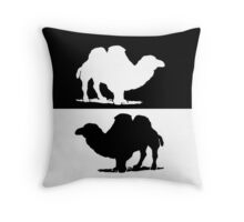 Black White Camels Throw Pillow