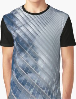 Glossy Glass Reflections - Skyscraper Geometry With Clouds - Right Graphic T-Shirt