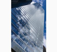Glossy Glass Reflections - Skyscraper Geometry With Clouds - Right Unisex T-Shirt
