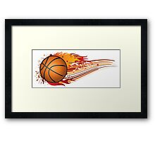Basketball in fire Framed Print