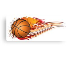 Basketball in fire Canvas Print