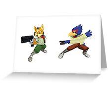 Fox and Falco StarFox Melee Design Greeting Card