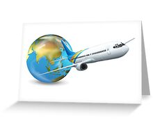 World transport design with globe and plane Greeting Card
