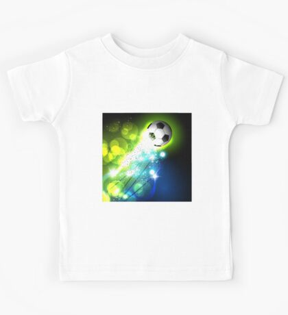 Glowing soccer ball on abstract background Kids Tee