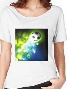 Glowing soccer ball on abstract background Women's Relaxed Fit T-Shirt